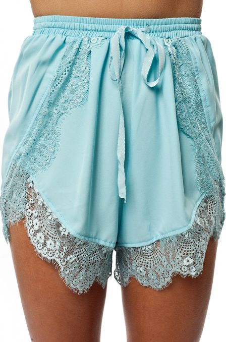 Teal lace shorts♥