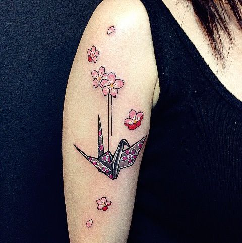 Origami cranes origami and cherry blossoms on pinterest for Paper crane tattoo