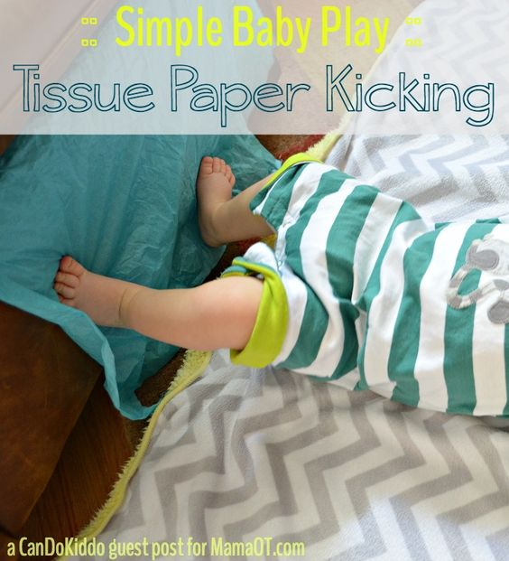 Tissue Paper Kicking - Baby play doesn't have to complicated or require lots of fancy toys. Here's a simple play activity with an item you probably already have in your home.