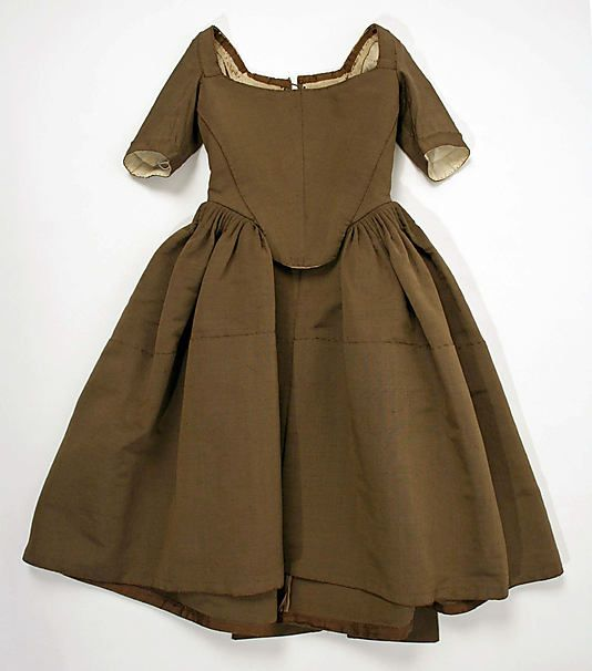 Child's brown wool and silk work dress (front), British, c. 1740.