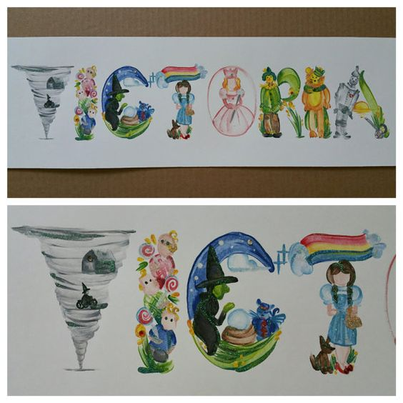 Custom Wizard of Oz Name Painting One of a by ArtbyAngelaYoung