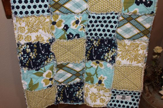 Blue Meadow Collection By Margie and Mabel Rag Quilt with Joel Dewberry Modern Meadow Fabric. $55.00, via Etsy.