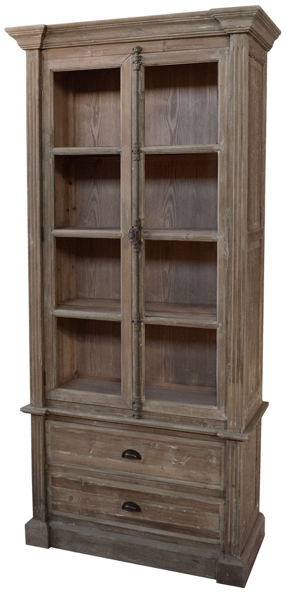 Pine Bookcase With Bin Pulls Washed