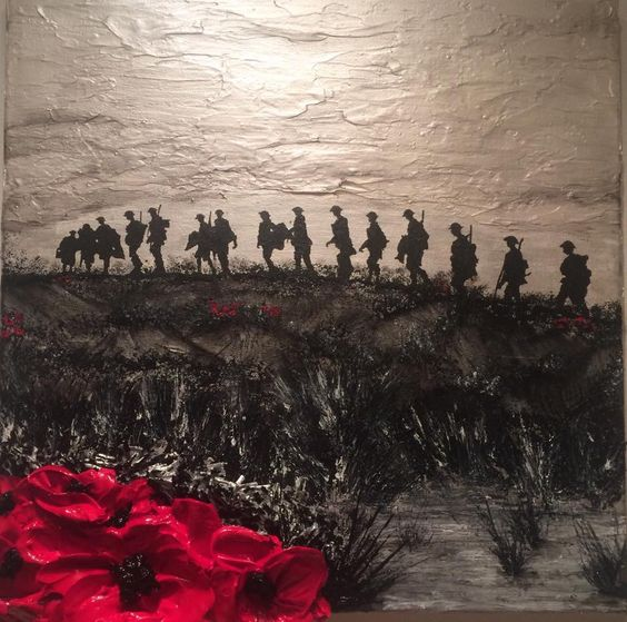 """""""Where Tommies Go, The Poppies Grow"""" by Jacqueline Hurley WW1 Remembrance Day Painting British Soldiers from The War Poppy Collection 1914-1918"""