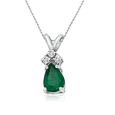 "14K White Gold Pear Shape Emerald and Diamond Pendant (3/4ct tgw 18"" chain)"