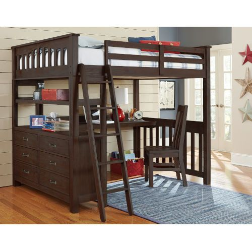Ne Kids 11070ndc Highlands Espresso Twin Loft Bed With Desk And Chair Bellacor Twin Loft Bed Loft Bed Loft Spaces