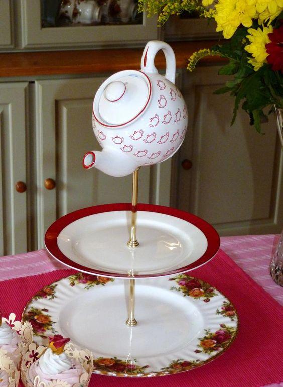 www.cakestandland.co.uk  Teapot topped cake stand