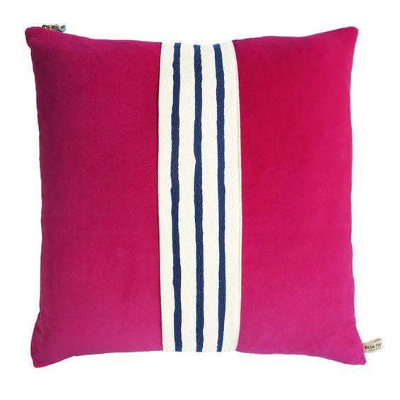 Velvet & Stripes Throw Pillow