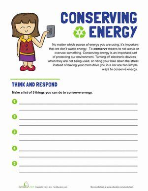 Energy Conservation Worksheet - Rringband