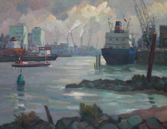 Schip bij Heijplaat te Rotterdam - Harry van der Woerd