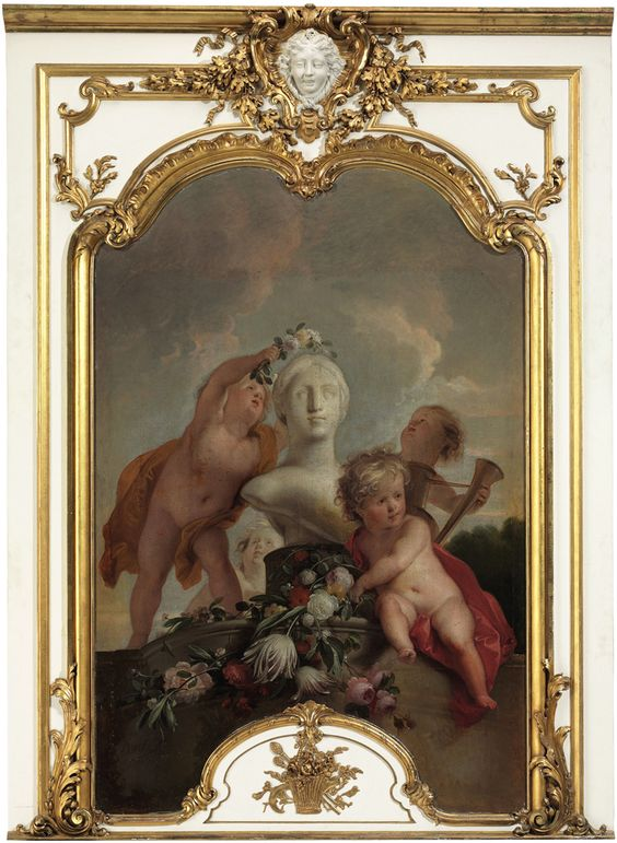 Jacob de Wit (19 December 1695 – 12 November 1754) An Impressive Palatial 18th Century Oil on Canvas of Putti Crowning a sculpture with flowers and garlands.