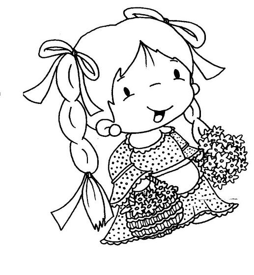 Little girl with flowers - coloring - Vanessa Chacaltana Google+