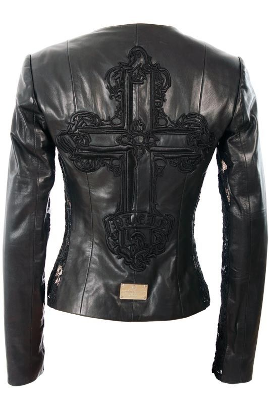 leather jacket w/ cross detailing and black lace inserts