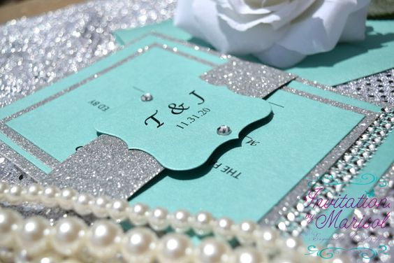 Aqua Blue and Silver Glitter Invitations wedding quinceañera, sweet sixteen bat mitzvah Invitation Suite with shimmery bling and belly band by InvitationsbyMarisol on Etsy https://www.etsy.com/listing/240642536/aqua-blue-and-silver-glitter-invitations