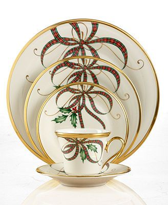Lenox Dinnerware, Exclusive Holiday Nouveau Ribbon Collection Love my Christmas Dinnerware