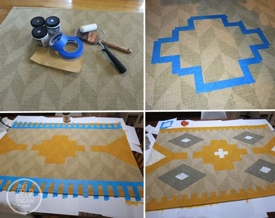Diy paint a kilim style rug used sisal rug from ikea and - Alfombras kilim ikea ...