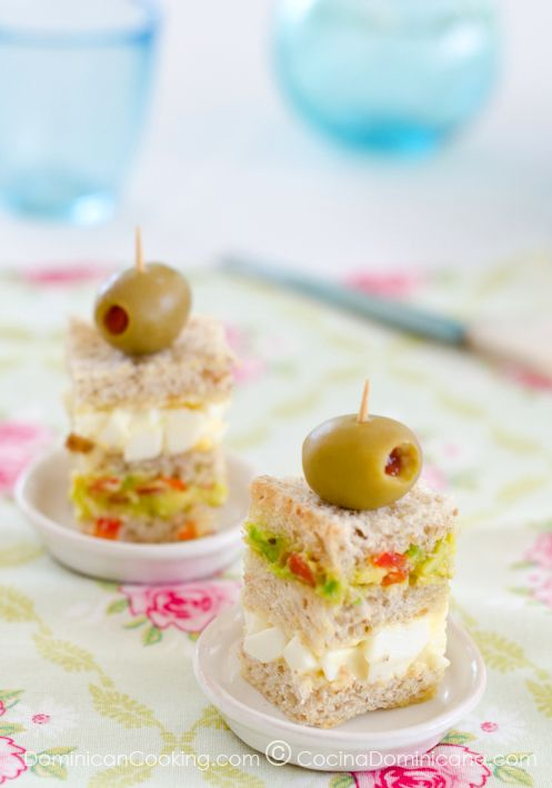 Triple-layered mini-sandwich  --------------------------------------------  Perfect for afternoon tea