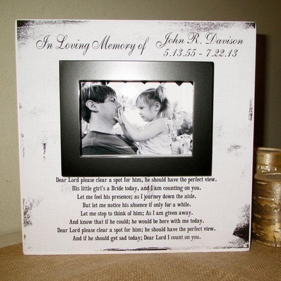 In Memory Dad Parent Daddy: Personalized In Loving Memory Dad Wedding Picture Frame