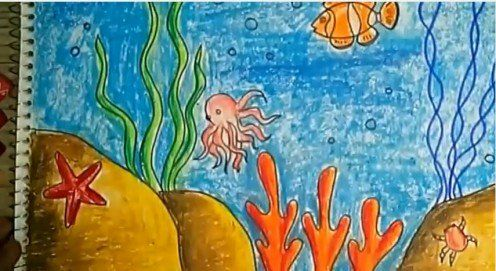 Children S Art How To Draw And Color An Underwater Scene Using Oil Pastels For Kids Underwater Drawing Oil Pastel Oil Pastel Drawings Easy