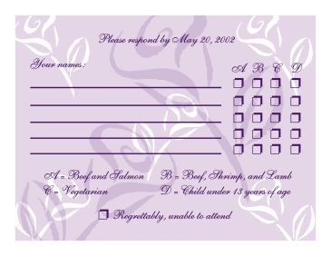 Rsvp With Menu Options Example