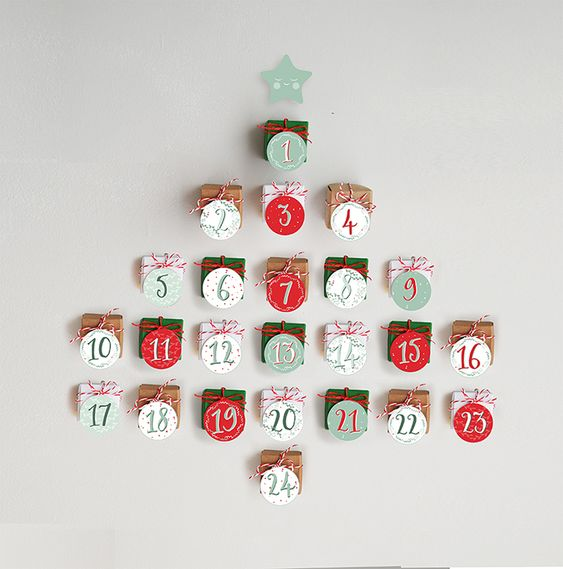 the Stork is Coming: DIY advent calendar with free printable tags and cardboard boxes