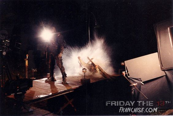 Cool Behind The Scenes Photo Of Mr. Shepard Grabbing Jason In 'Friday The 13th Part 7' - Friday The 13th: The Franchise