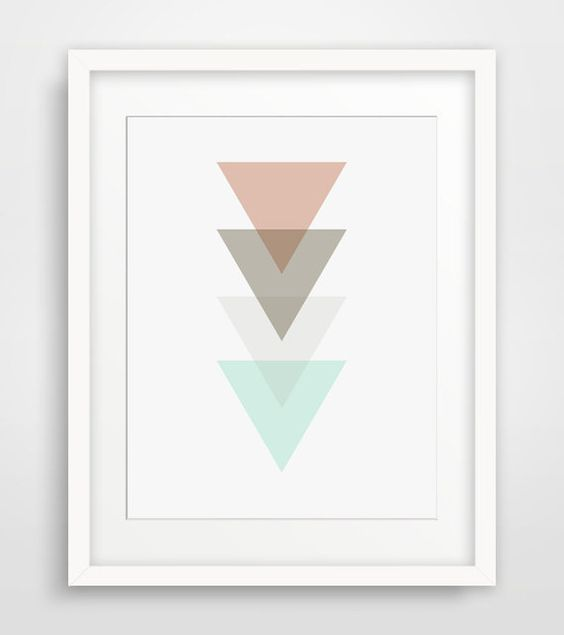 Pastel Triangle Print Coral and Mint par MelindaWoodDesigns sur Etsy