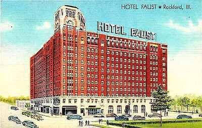 Rockford Illinois IL 1938 Hotel Faust Collectible Antique Vintage Linen Postcard Rockford Illinois IL 1938 Hotel Faust. Unused Curteich collectible antique vintage linen advertising postcard in excell