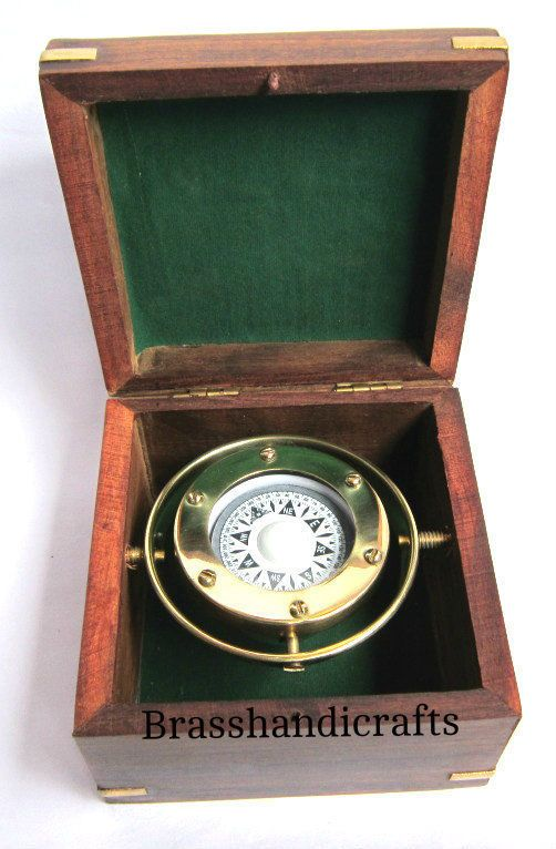 Nauticalmart Vintage Brass Marine Gimbals Compass Beautiful With Wooden Box Compasses Vintage Brass Wooden Boxes Compass