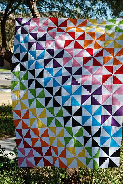SuperGirl's Finished Top by blueberrymoon, via Flickr -- LOVE this!  Would be a great Baby Quilt pattern using scrappy HST!