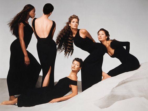 Naomi Campbell, Kristen McMenamy, Linda Evangelista, Stephanie Seymour, & Christy Turlington Burns in GIANNI VERSACE