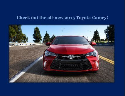 Check out the all new 2015 Toyota Camry! A brand new exterior and an extremely lush interior will make you fall in love with the 2015 Toyota Camry!  http://www.slideshare.net/ToyotaofOrlando/check-out-the-all-new-2015-toyota-camry