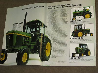 Big news from 1972.Generation ll was revealed with the 80hp 4030,100hp 4230,125hp 4430,150hp 4630.Replaced was the 61hp 2520,71hp 3020,95hp 4000,85hp 4020,116hp 4320,135hp 4620.John Deere should have replaced the 2520 with the 65hp 3030 which would have placed it between the 60hp 2030,70hp 2630.Wonder how the 4230 suceeded the 4020.What made the 4020 so special to begin with?The 4430 took over from 4020 in Long Green Line