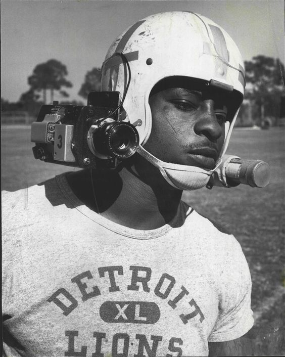 1968 Mel Farr Detroit Lions helmet camera