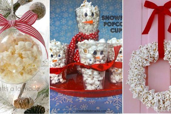 8 Activités à faire avec les enfants pour Noël, grâce à du maïs soufflé! Vive le POP-CORN!
