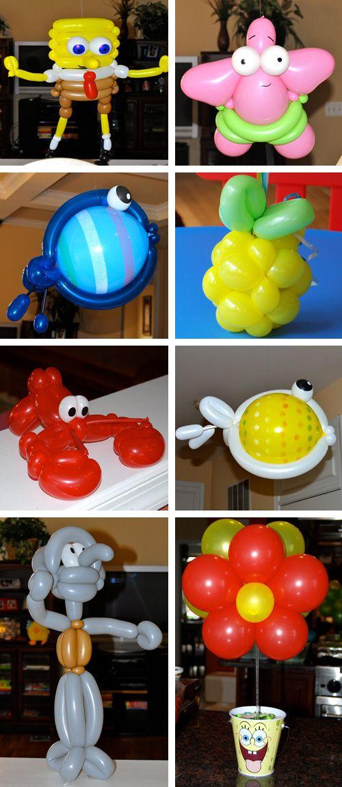 Globos de personajes de Bob Esponja, por Cre8ive-Chris: www.facebook.com/pages/Cre8ive-Chris/126266717386133