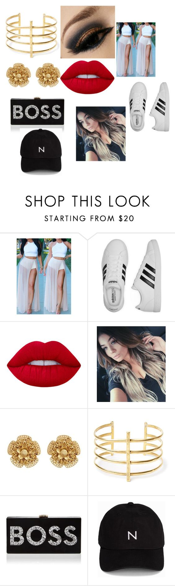 """""""boss"""" by mysquadgoals2026 on Polyvore featuring adidas, Lime Crime, Miriam Haskell, BauXo, Milly and New Black"""