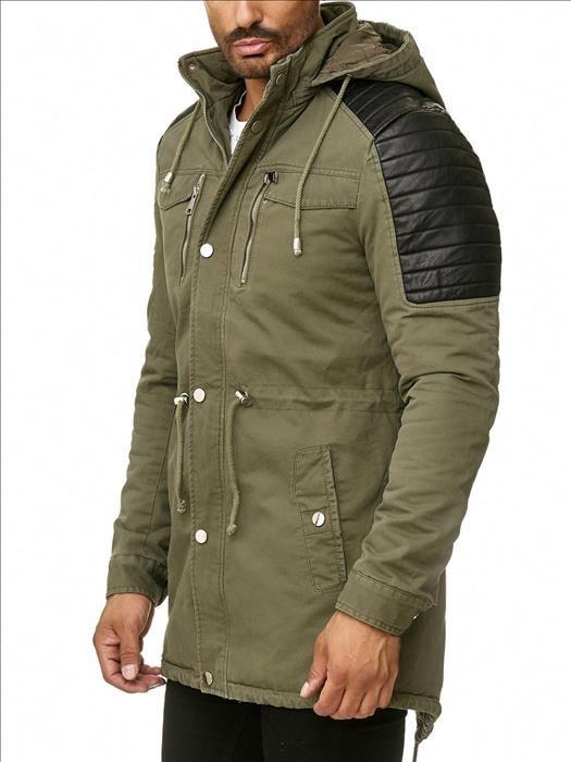 New in heren jas kaki met zwarte patches jas is voorzien