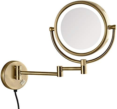 New Gurun Led Lighted Makeup Mirror Wall Mounted 10x Magnification