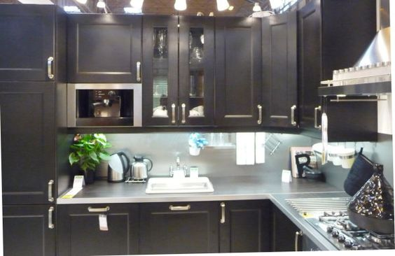 Ikea Kitchen Cabinets Black kitchen cabinets: ikea's ramsjo brown black kitchen display at