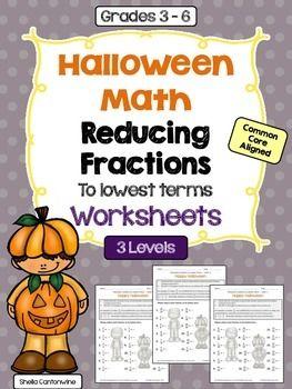 math worksheet : halloween math  reducing fractions to lowest terms worksheets 3  : Reducing Fractions To Lowest Terms Worksheets