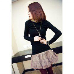 $4.48 Stylish Ruffle Stripe Hemline Lace Coffee Nylon Fiber Shirt For Women