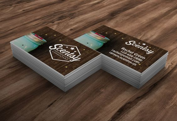 Blue and Wood Chasing Fireflies Scentsy Business Cards 3