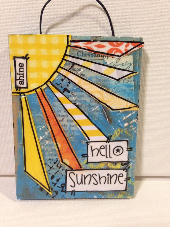 .  3x4 - 4x4. Sizes vary. hello Sunshine  Banner colors vary. If you would like a color theme just include in the notes to me. Hand painted
