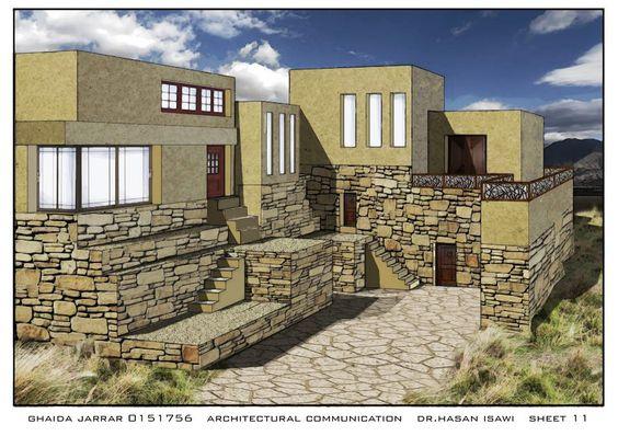 Ghaida Jarrar to Architectural Communication Skills- مهارات اتصال معماري  لوحة11: تجرية الامتحان النهائي لمادة مهارات اتصال معماري حول تصميم الجديد كامتداد للنمط القديم ولكن بشكل حديث