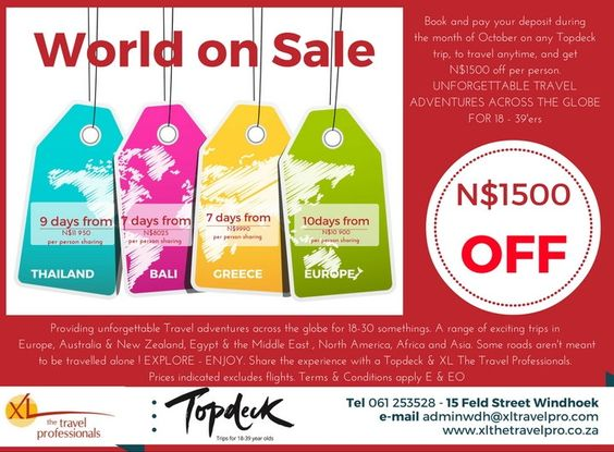 World on Sale - Book now and save ! http://www.xlthetravelpro.co.za/