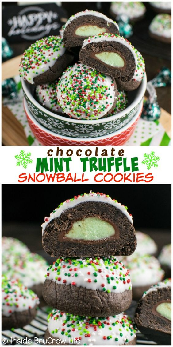 ... mint candy surprise in these Chocolate Mint Truffle Snowball Cookies