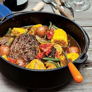"""Roast and veggies for the camp fire  After a day of hiking or swimming, Adam Sappington of The Country Cat in Portland, likes the simplicity of cooking a one-pot meal like this for his wife and their two young sons. """"Gramma"""" is the perfect tool for checking the meat's tenderness."""