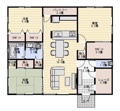 二人暮らしで住む廊下のない平屋の間取り図30坪3ldk 平屋間取り