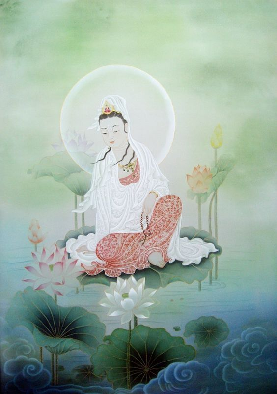 周淑媛-荷塘觀音菩薩-絹